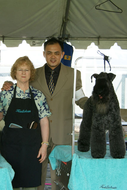 Mr. Gan and Ms Nancy Han, NDGAA Certifiers at Great Western Dog Show, USA