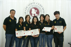 Rachel Yeoh of Groomers Connection with their teachers at HOGA year 2007